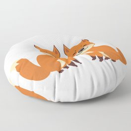 cute fox, boy and girl with funny face and fluffy tails on white background Floor Pillow