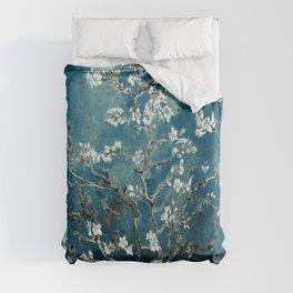 Van Gogh Almond Blossoms : Dark Teal Duvet Cover