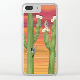 gila woodpeckers on saguaro cactus Clear iPhone Case