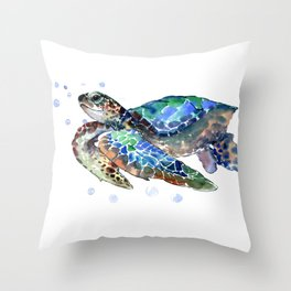 Sea Turtle, Green Blue, sea turtle under water, sky blue Throw Pillow