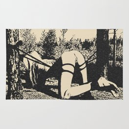 Outdoor fetish games - kinky shibari in forest, sexy blonde submissive ropes bondage, adult erotic Rug