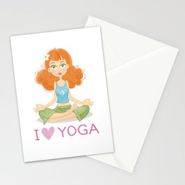 Cute Yoga Girl Sitting in Lotus Pose Stationery Cards