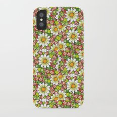 Christmas Daisy and Berries Pattern iPhone X Slim Case