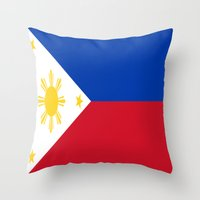 philippines Throw Pillows featuring Flag of the Philippines by Neville Hawkins
