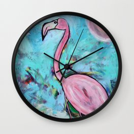 Flamingo at Sunset Wall Clock