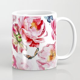 Pink flowers peony and butterfly background watercolor wedding illustration Coffee Mug