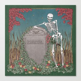 Skeleton Leaning on Grave Canvas Print