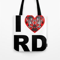 roller derby Tote Bags featuring I heart roller derby by Andrew Mark Hunter