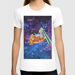 Galaxy Laser Beam Eyes Cat on Pizza T-shirt