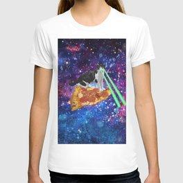 Galaxy Laser Beam Eyes Cat on Pizza T-shirt