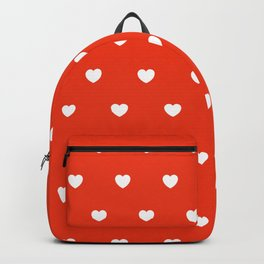 HEARTS ((white on cherry red)) Backpack