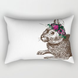 The Rabbit and Roses | Vintage Rabbit with Flower Crown | Rabbit Portrait | Bunny Rabbits | Bunnies Rectangular Pillow