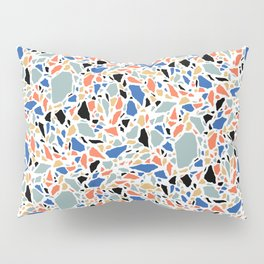 Terrazzo pattern in blue and salmon Pillow Sham