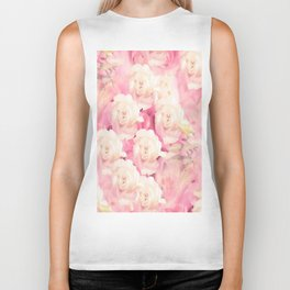 White and pink flowers in summer romance - vintage style Biker Tank