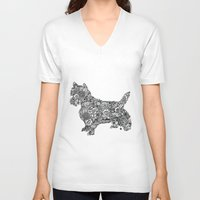 terrier V-neck T-shirts featuring Terrier by PawPrints