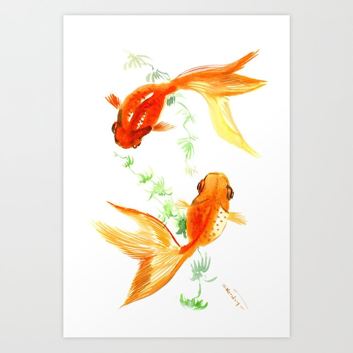 Goldfish, Feng Shui Asian Watercolor Art Print