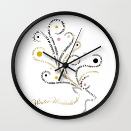 Typographic Reindeer Love - White Wall Clock
