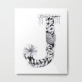 Floral Pen and Ink Letter J Metal Print