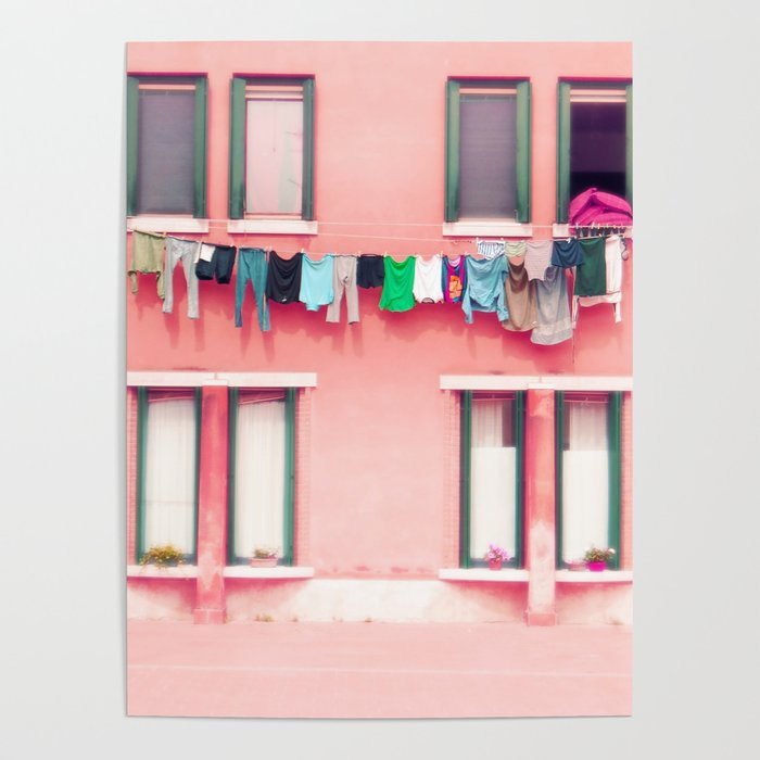 Laundry Venice Italy Travel Photography Poster