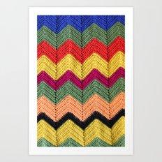 Rainbow Chevron Afghan Art Print