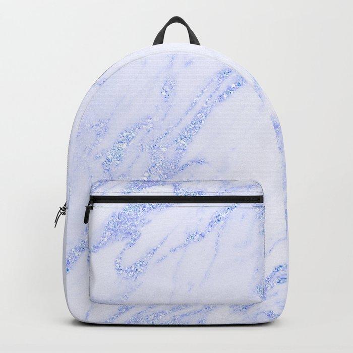 Blue Marble - Shimmery Glittery Cornflower Sky Blue Marble Metallic Backpack