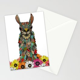 llama daisy love white Stationery Cards