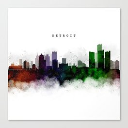Detroit Watercolor Skyline Canvas Print
