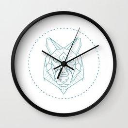 Geometric Blue Wolf Wall Clock