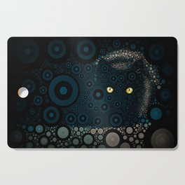 Cat In The Shadows Circle Mosaic Cutting Board