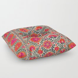 Kermina Suzani Uzbekistan Colorful Embroidery Print Floor Pillow