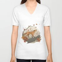 rabbit V-neck T-shirts featuring Fox and rabbit by Laura Graves