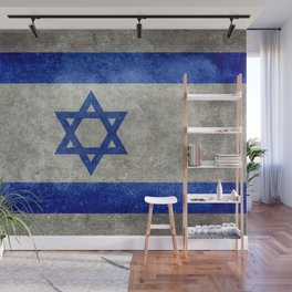 Israeli National Flag in grungy retro style שְׂרָאֵל‎ Wall Mural