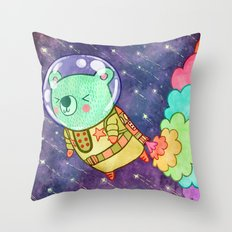 Flying to the Moon Bear Throw Pillow