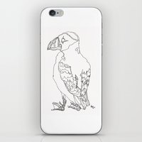 puffin iPhone & iPod Skins featuring Puffin by Alice Suttle