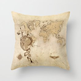 World Map (Here be Dragons!) Throw Pillow