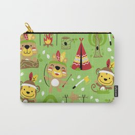 Cartoon animals indian tribes seamless pattern vector Carry-All Pouch