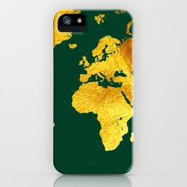 Forest Green and Gold Map of The World - World Map for your walls iPhone Case