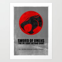 thundercats Art Prints featuring Thundercats (Super Minimalist series) by Itomi Bhaa