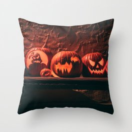A Very Spooky Lineup of Jack O'Lanterns Throw Pillow