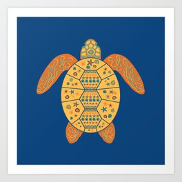 Sea Turtle - Gold and Blue Art Print