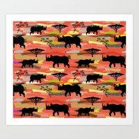 rhino Art Prints featuring Rhino by misslin