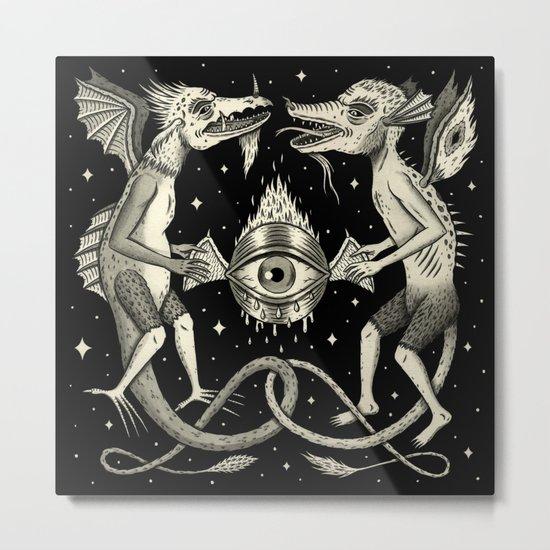Heraldic Beasts with All-Seeing Orb Metal Print