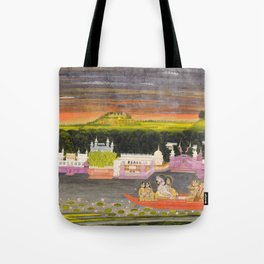 Radha and Krishna in the boat of love, 1755 Tote Bag