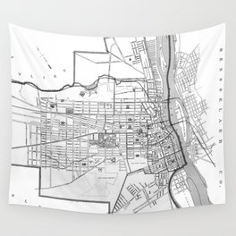 Vintage Map of Albany NY (1895) BW Wall Tapestry