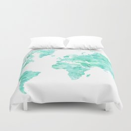 Teal aquamarine watercolor world map Duvet Cover