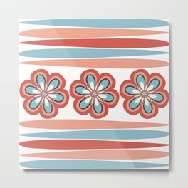 Fractal Flowers and Stripes in Modern Turquoise and Orange Coral Metal Print