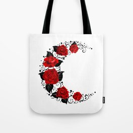 Moon of Red Roses Tote Bag