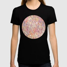 Glowing Coral and Amethyst Art Deco Pattern T-shirt