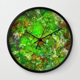 Slippery green rocks Wall Clock
