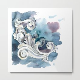 Gypsum model rosette curl. Plaster floral ornament. Antique motive. Cold range of colors and shades Metal Print
